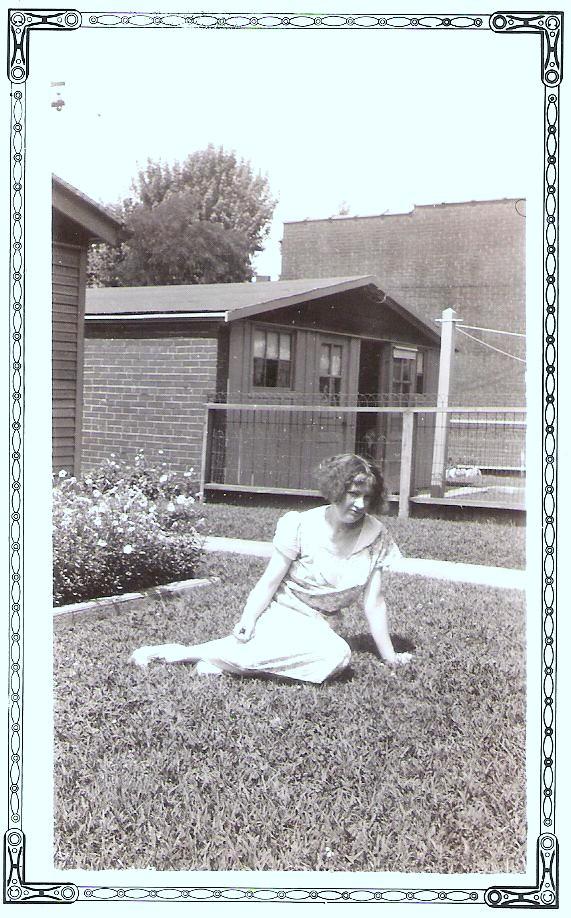 Marie in Irene's backyard 001